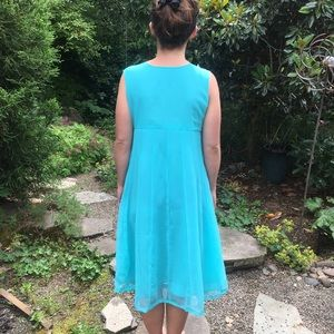 Dresses - Turquoise Chiffon and Gold Hand Beaded Dress